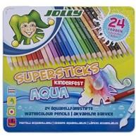 Jolly supersticks aquarell 24 darabos színes ceruza készlet fém dobozban