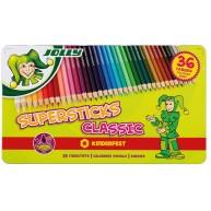 Jolly supersticks classic 36 darabos színes ceruza készlet fém dobozban