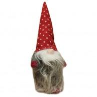 Karácsonyi manó pöttyös sapkában husszú szakállal 25 cm 8058