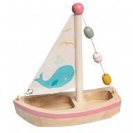 Fa vitorlás hajó fürdőjáték , rózsaszín díszcsíkkal 6192-A