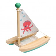 Katamarán vitorlás hajó, zöld, polipos fürdőjáték 6193