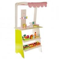 Játék eladópult zöldségekkel, italokkal, játék mérleggel és pénztárgéppel