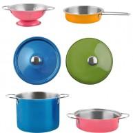 Játék edénykészlet színes 11db-os fém