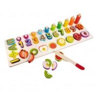 Szortírozó fajáték mágneses szeletelhető gyümülcsökkel és számokkal 1-10