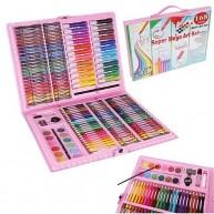 168db-os Festőkészlet, rajzkészlet gyerekeknek rózsaszín táskában 9174