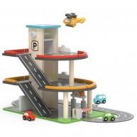 Játék garázs-parkolóház 2 emeletes helikopterleszállóval és járművekkel 6620