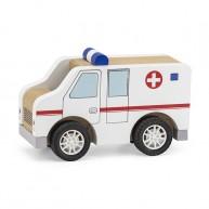 Játék mentőautó fából gumi kerekekkel 6607