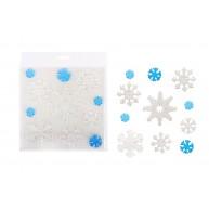 Karácsonyi zselés ablakdísz jégkristályos fehér-áttetsző