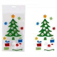 Karácsonyi zselés ablakdísz karácsonyfa ajándékokkal