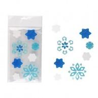 Karácsonyi zselés ablakdísz kék-fehér jégkristályos