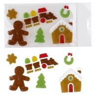 Karácsonyi ablakzselé dekoráció mézeskalács figurák és mézi