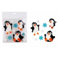 Zselés karácsonyi ablakdísz pingvin figurákkal