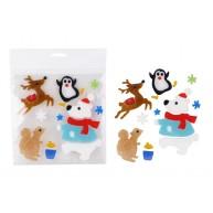 Karácsonyi ablakzselé dekoráció jegesmedve, mókus, rénszarvas, pingvin kombó
