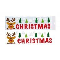 Karácsonyi ablakzselé rénszarvasos Christmas felirat