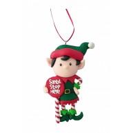 Karácsonyi kobold karácsonyfadísz Santa táblával
