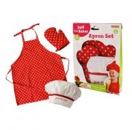 Szakácsruha szett piros pöttyös fehér sapkával 5100