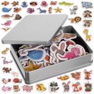 Hűtőmágnes gyerekeknek állatos témájú angolul tanító 40db fém dobozban