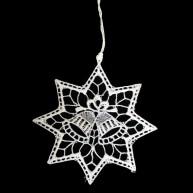Horgolt karácsonyfadísz csillag haranggal 9cm 671513