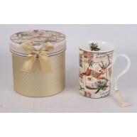Karácsonyi ajándékbögre aranyozott díszdobozban rénszarvas mintával 183290