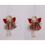 Akasztható angyalkás figura piros-barna szoknyában 067030