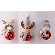 Karácsonyfadísz kislány, rénszarvas, hóember száncsengős pocakkal 067043