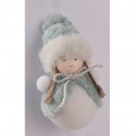 Akasztható karácsonyfadísz kislány, hóember türkiz pasztell kabátban és sapkában 067052
