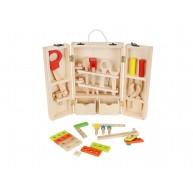 Szerszámosláda, szerszámos bőrönd fa kiegészítőkkel és szerszámokkal 9367