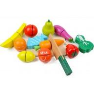 Szeletelhető zöldségek dobozban vágódeszkával és késsel tépőzáras rögzítéssel