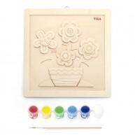 Kifesthető virágos puzzle fából 6631