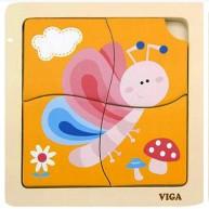 Puzzle fából Pillangós 4db-os kicsiknek 4231-E