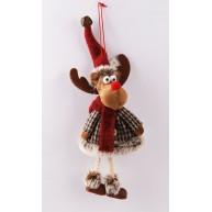Rénszarvas süvegben - karácsonyi akasztható figura 12cm
