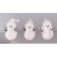 Hóember figurás karácsonyfadísz sapkában 15,5cm