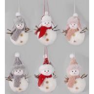 Plüss hóember sapkában vagy kucsmában lógó karácsonyfadísz 12cm 457068