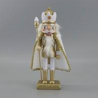 Fa diótörő király arany-fehér karácsonyi dekorációs figura 25 cm 729761