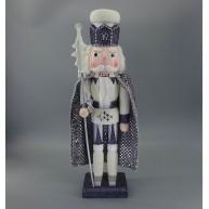 Fa diótörő király Szürke-fehér karácsonyi dekorációs figura 50 cm 729764