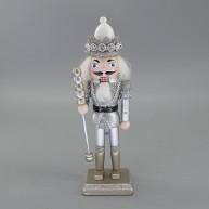 Fa diótörő király ezüst-fehér karácsonyi dekorációs figura 20 cm 729765