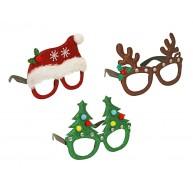 Karácsonyi party szemüvegkeret - mikulás, rénszervas, fenyő