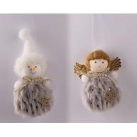 Szürke ruhás plüss anygalka vagy hóember - figurás karácsonyfadísz