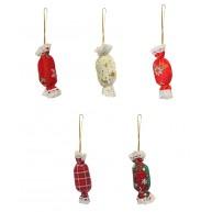 Textil szaloncukor karácsonyfa dísz és dekoráció 067276