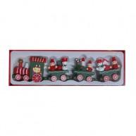 Karácsonyi dekorációs kisvonat zöld, utasokkal 6995-A