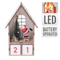 Karácsonyi adventi naptár kisházikóban miklulással és fenyőfával natúr 6992-B