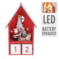 Karácsonyi adventi naptár kisházikóban miklulással és szánjával piros 6992-A