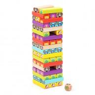 Állatos Jenga torony építős társasjáték gyerekeknek 52db-os  5153