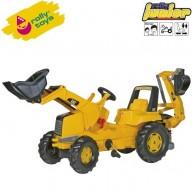 Rolly Toys gyerek traktor pedálos elülső lapáttal és hátsó markolóval Junior CAT 813001
