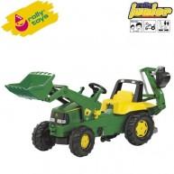 Rolly Toys gyerek pedálos traktor markolóval és lapáttal Junior John Deere 811076