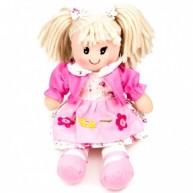 BUMI Textil baba rózsaszín kabátban és virágos ruhában 30 cm 3333P