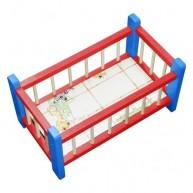IMP-EX Kicsi fa babaágy játékbabáknak piros-kék 0279-A