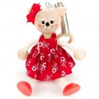 IMP-EX rugós cica lány figura piros ruhában 3843-94