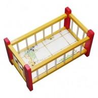 IMP-EX Kicsi fa babaágy játékbabáknak piros-sárga 0279-B