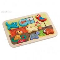 Janod 3D fa puzzle - háziállatok 7024